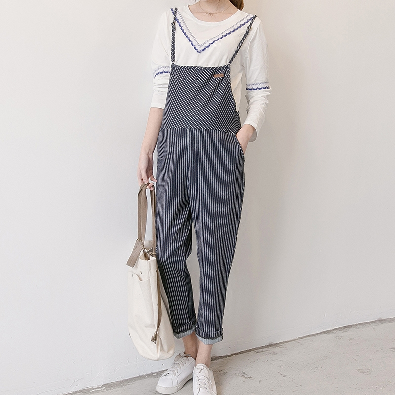 2018 spring maternity bib pants denim stripped trousers jumpsuit high waist overalls pregnant jeans loose fit pregnancy playsuit