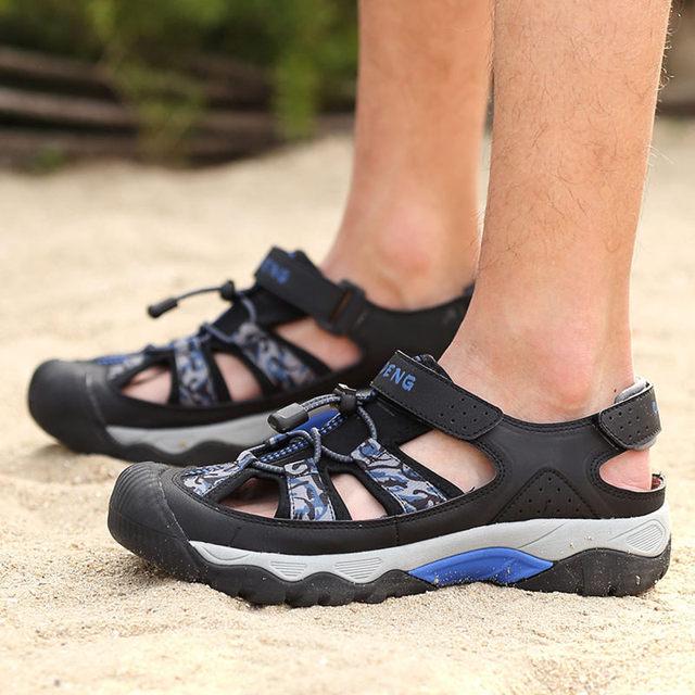 TOURSH Genuine Leather Sepatu Pria Outdoor Hiking Sandals Shoes Waterproof  Summer Shoes Mens Trekking Shoes Beach Men s Shoes 90ff3436ef