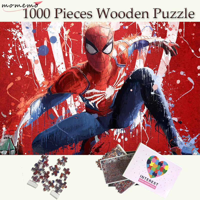 MOMEMO Spider-Man Puzzle 1000 Pieces Wooden Puzzle Marvel Super Heroes Spiderman Puzzle Games Adults Teenagers Kids Childen Toys