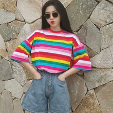 New Streetwear Rainbow Color Stripes Women T-shirt Casual Summer Half Sleeve Loose Striped T Shirt Tee Top