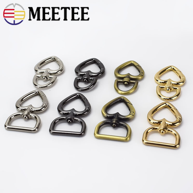 10Pcs 30pcs Heart Shape Metal Buckles Handbag Strap Snap Hook Keyring Dog Chain Bag Buckle DIY Leather Craft Sewing Accessories in Buckles Hooks from Home Garden