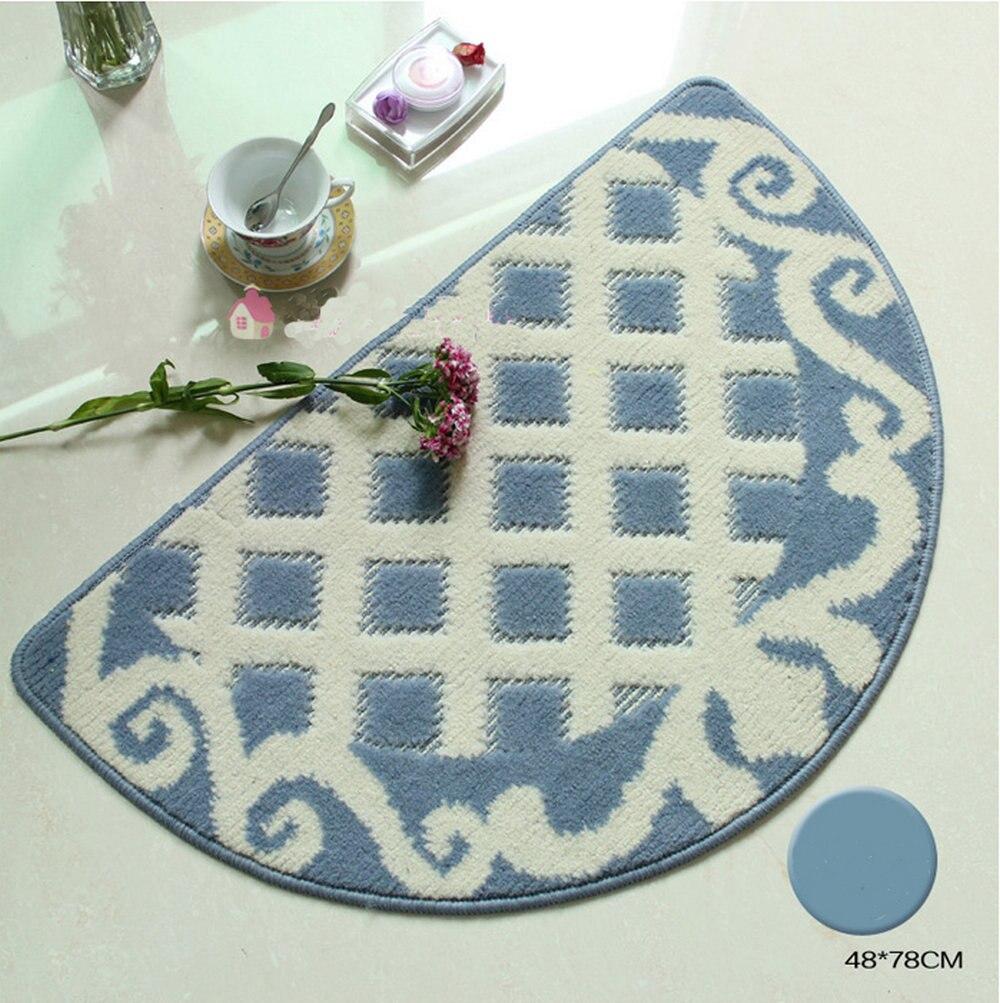 NiceRug 48x78 cm tapis de chambre tapis de sol demi-rond en forme antidérapant Absorption d'eau bleu grille tapis paillasson pour cuisine Bathro - 3