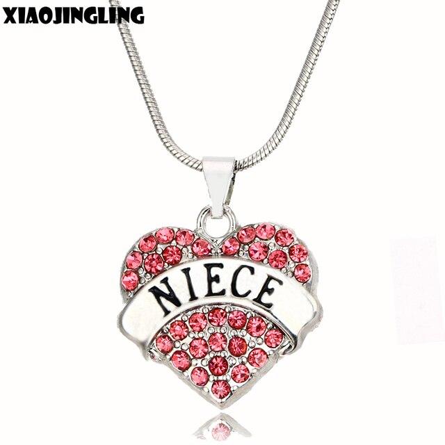 xiaojingling 2 color crystal heart necklaces pendants fashion