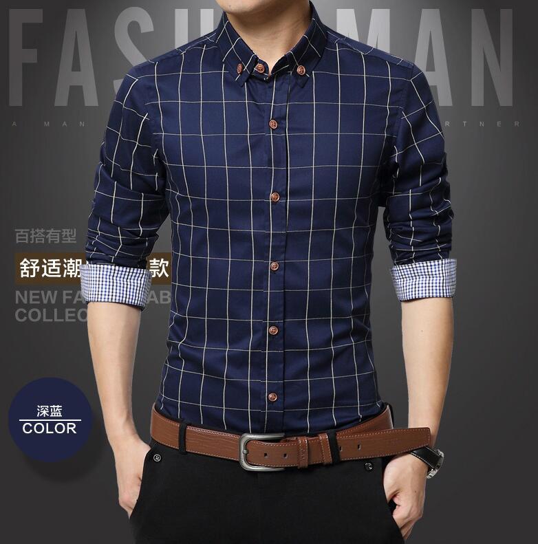 2018 New Autumn Fashion Brand Men Clothes Slim Fit Men Long Sleeve Shirt Men Plaid Cotton Casual Men Shirt Social Plus Size 5xl Men's Clothing