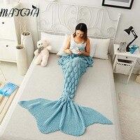 Simanfei 2017 New Fashion Solid Sweet Mermaid Tail Blanket Handmade Crochet Sleeping Throw Blankets CrochetSofa Decorativa