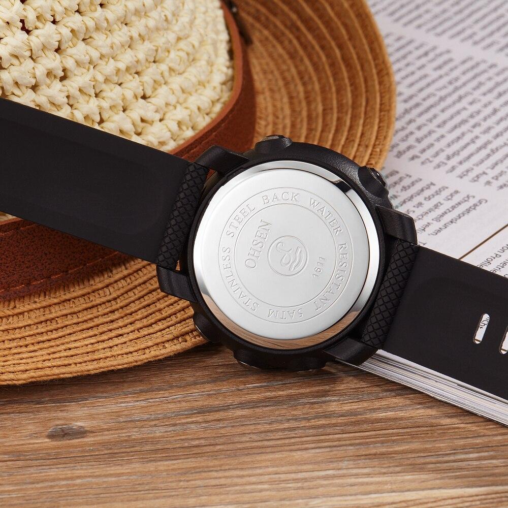 OHSEN Moda Wodoodporny Stoper Army LED Cyfrowy zegarek Człowiek - Męskie zegarki - Zdjęcie 5