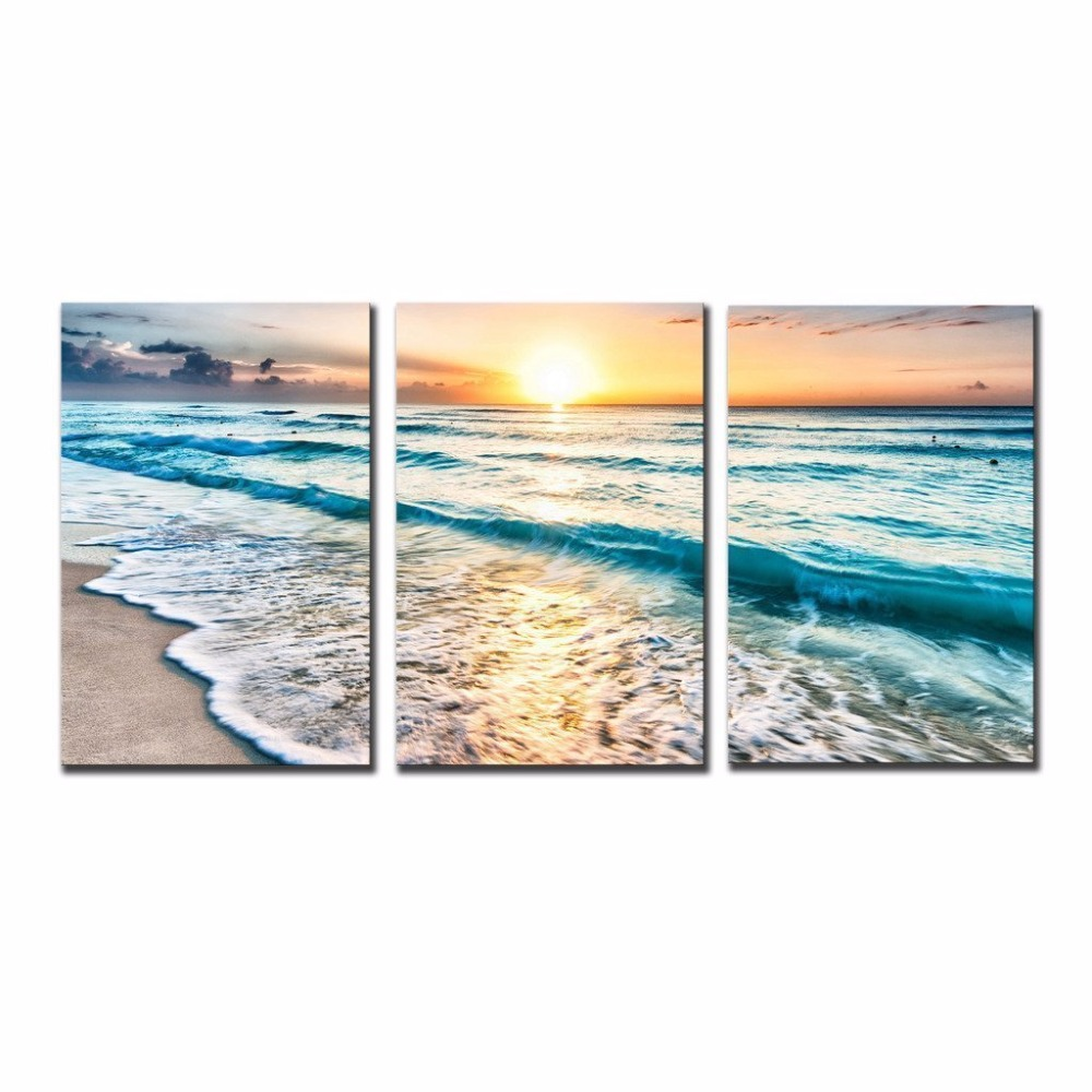 3 Pieces Wall Art Picture Gift Home Decoration Canvas Print Painting Beautiful Sea Sunset Wholesale XJ 129