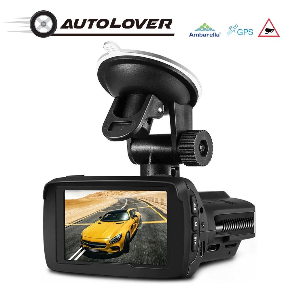 AUTOLOVER G3 detector Carro Ambarella A7 Câmera Traço DVR FHD 1296 P 170 Graus GPS WDR LDWS Loop Registro G-sensor de Condução gravador