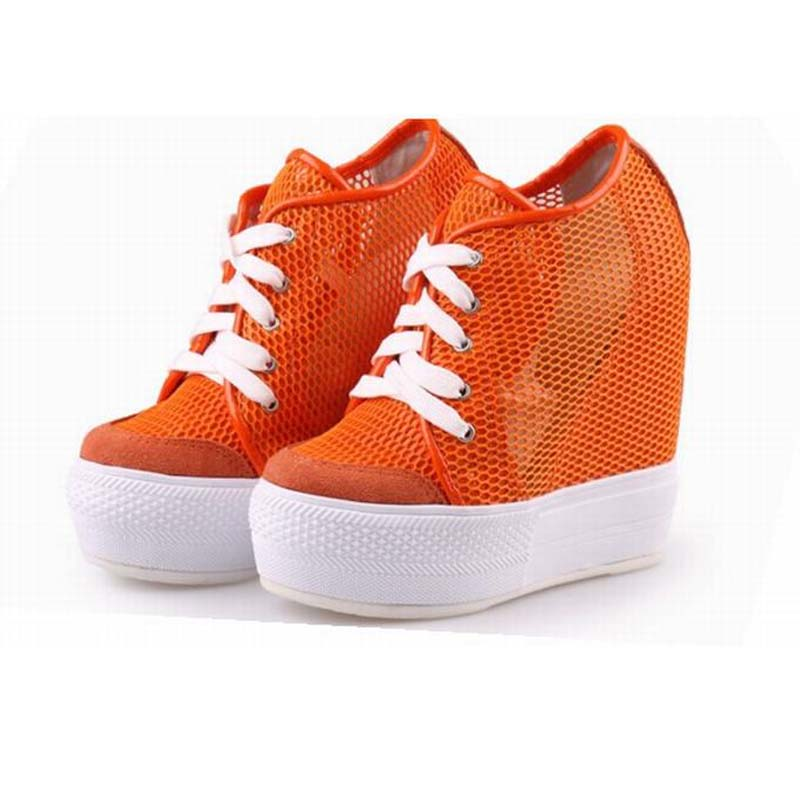 2017 Women Casual Shoes Breathable Mesh Height Increasing Lace-up Flats High Platform Thick Bottom Ladies Shoes Zapatos Mujer new mesh air women flats summer casual shoes height increasing comfort shoes woman platform ladies shoes