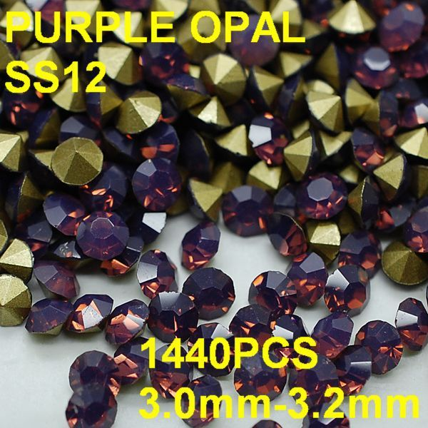 SS12 1440pcs/lot 3.0mm-3.2mm Purple Color Opal Rhinestone with Golden Point Back Nail 3D Rhinestones Decoration
