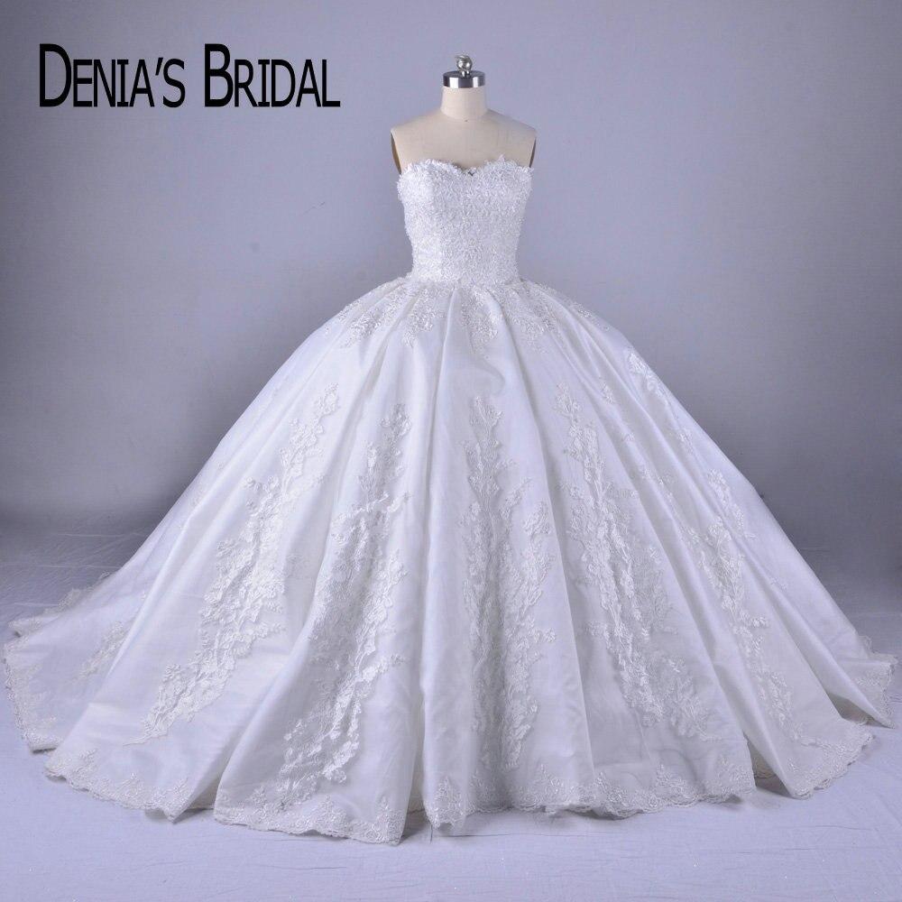 2018 Puffy Vestido De Baile Vestidos de Casamento Do Querido Neck Frisada Applique Trem Tribunal Vestidos de Noiva
