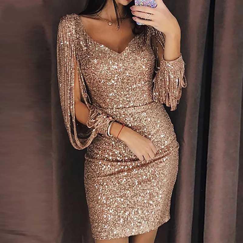 sexy tassels long sleeve sequin dress hollow out evening party elegant  bodycon dress women gold silver 86973d82ca4d