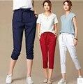 2xl плюс размер брюки женские летние стиль 2016 бермуды feminina свободные белый красный синий харлан брюки досуг женские брюки A0728