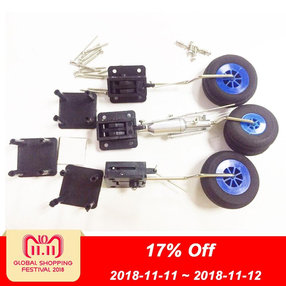 1 Unidades Juego de piezas de avión DIY tren de aterrizaje retráctil con tornillos de palancas de ruedas 1 kg de tolerancia para Avión RC