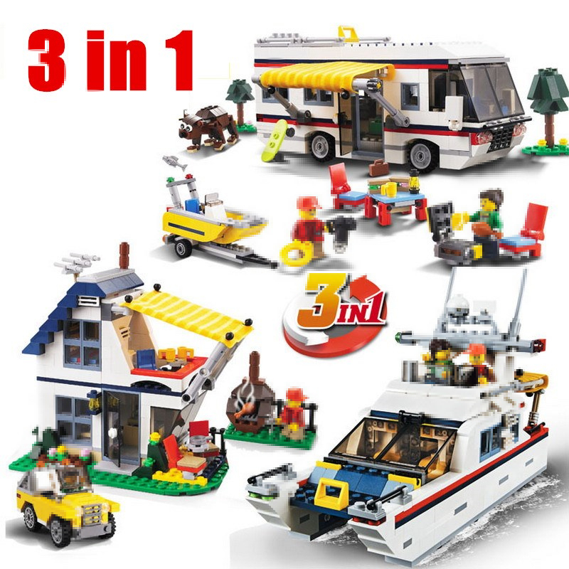 DECOOL 3117 City Creator 3 in 1 Vacation Getaways lepin Model Building Blocks Enlighten DIY Toys Children Compatible Legoes lepin city creator 3 in 1 beachside vacation building blocks bricks kids model toys for children compatible with lego gift kid