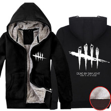 Mens 2016 Game Dead by Daylight Logo Hoodie Super Warm Fleece Black Cotton Winter Zip up Sweatshirts