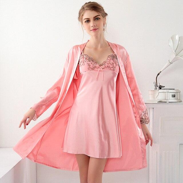 New fashion women's pink silk robe and two piece sleepwear nightgown female nightdress homewear lingerie dresses for women