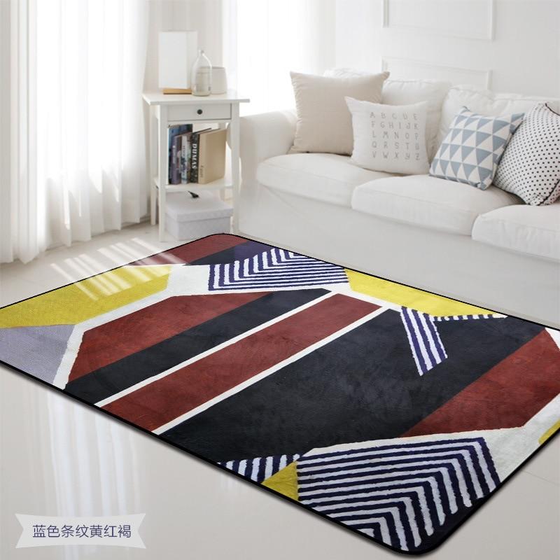 US $34.29 35% OFF|Kolorowy kwadrat geometryczny mata do domu styl skandynawski dywan do salonu sypialnia dekoracyjne dywaniki absorpcja wody