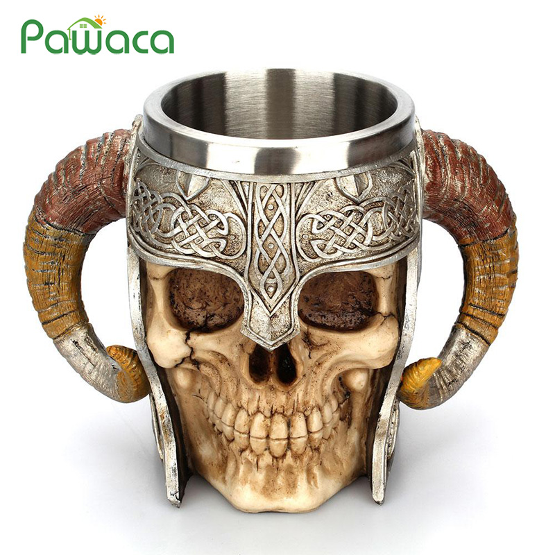 Creative 3D Stainless Steel Skull Mug Drinking Cup Skeleton Resin Beer Coffee Mug Tea Cups Halloween Home Decor Bar Drinkware