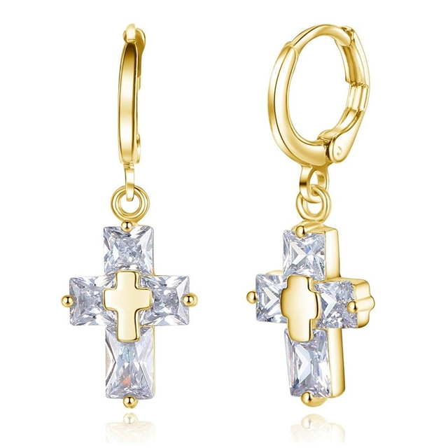 Gold Color Hoop Earrings with Crystal Small Circle Dangle Cross