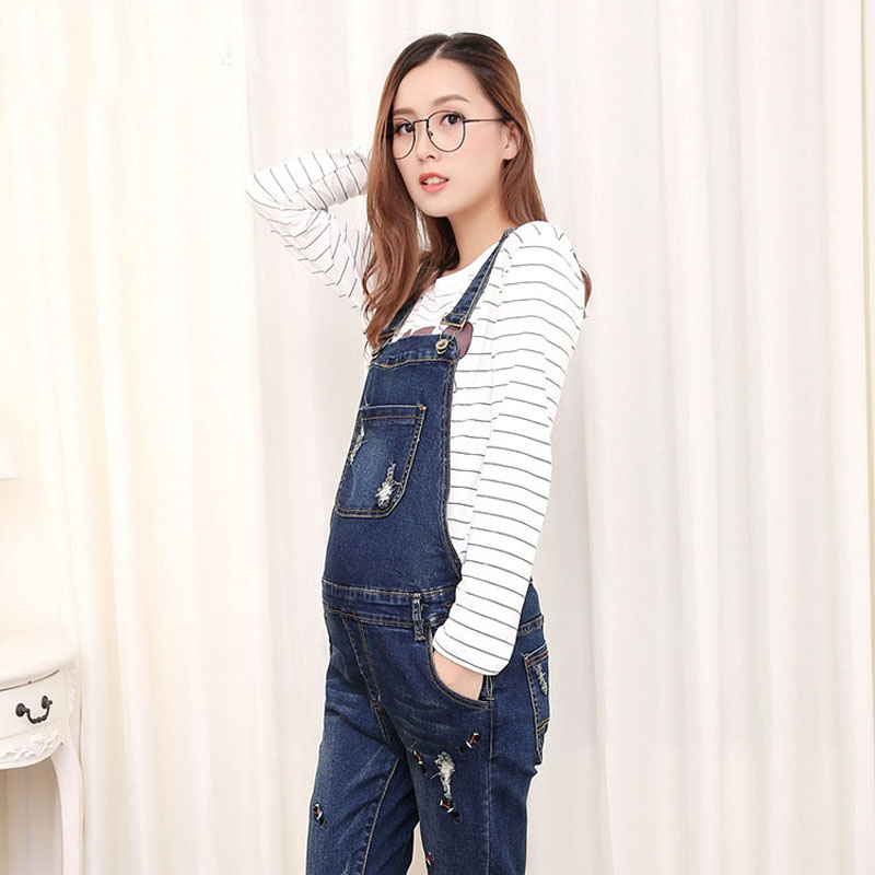 Denim Overalls Maternity Jeans Straps Pants For Pregnant Women Embroidery Pockets Jeans Pregnancy Braced Suspenders Jumpsuits boyfriend jeans men s ripped jeans casual front pocket blue denim overalls male suspenders bib jeans jumpsuit or05