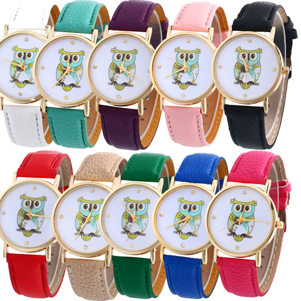 9&cheap Cute Cartoon Owl Watch Women Ladies PU Leather Wristwatch Analog Quartz Fashion Casual Watch Relogio Feminino #180717 cute cartoon watch the beatles fashion casual leather quartz watch men women kids wristwatch relogio feminino clock