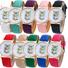 9&cheap Cute Cartoon Owl Watch Women Ladies PU Leather Wristwatch Analog Quartz Fashion Casual Watch Relogio Feminino #2522