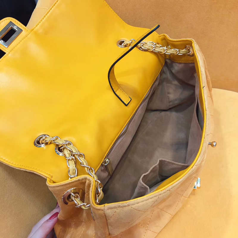 Luxo Rhombus Cadeia Grande Bolsa para As Mulheres Da Moda de Camurça de Couro Designer Marca Crossbody Sacos de Ombro Qualidade Superior B009