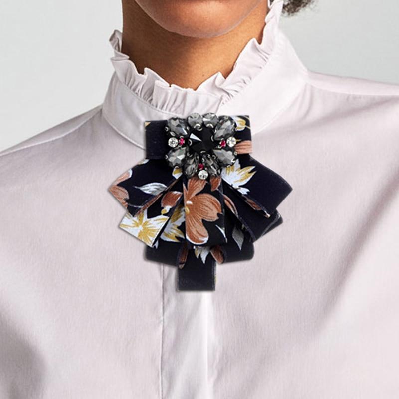 ZHINI Romantique Arc Broches Tissu Bowknot Vintage Col Broches Corsage Chemise Cravate Cravate De Mariage Broche Femmes Bijoux En Gros