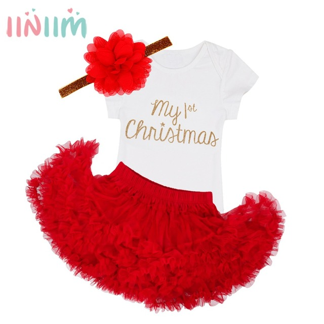 Christmas Romper With Skirt Headband