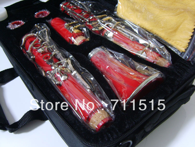 Wholesale manufacturers instrumentos musicais - 17 key bakelite clarinet in B flat clarinete red brass oboe pc client version french brand 17 key falling tune b clarinet bakelite clarinet learning musical instruments with free bag