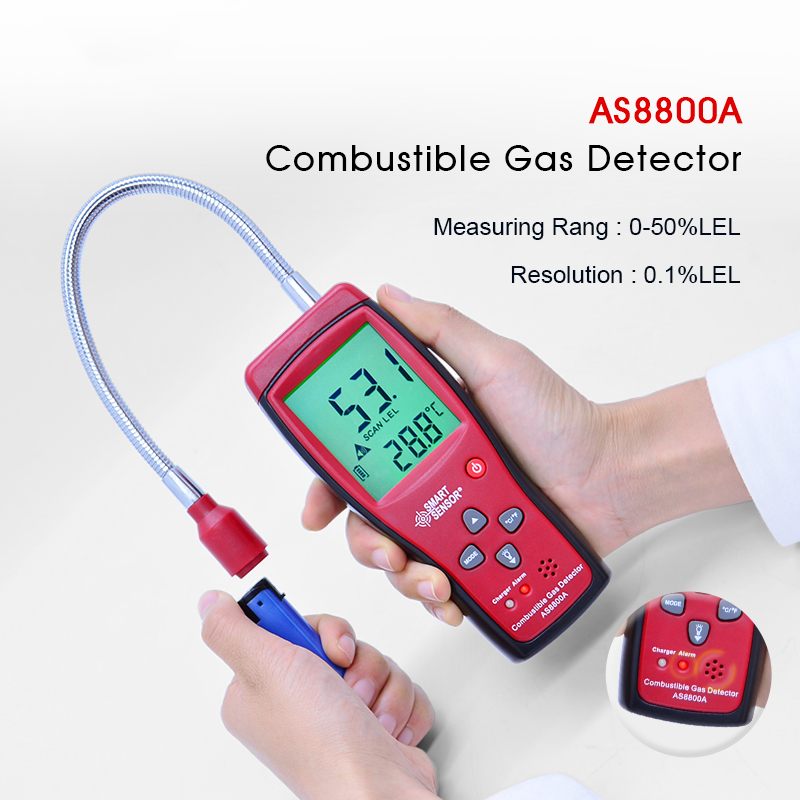 Gas Detector AS8800A Combustible Natural Portable Gas Leak Location Determine Analyzer Tester Sound Light Alarm official peakmeter pm6310 high accuracy combustible gas leak detector analyzer meter with sound light alarm analizador de gases