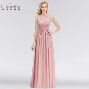 Image 4 - Vestido Madrinha Dusty Rose Lace Long Bridesmaid Dresses Sexy A Line Chiffon Dress for Wedding Party Robe Demoiselle Dhonneur