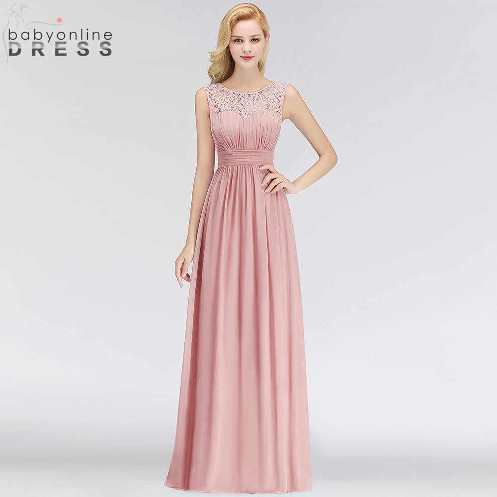 306aae55f6 Vestido Madrinha Pink Lace Long Bridesmaid Dresses Sexy A Line Chiffon  Dress for Wedding Party Robe Demoiselle D'honneur