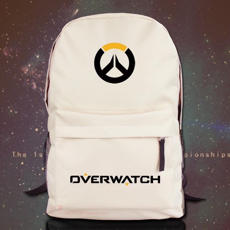 For Overwatch Unisex Backpack Nylon Casual Zipper Laptop Backpack Birthday Gift Gaming Black White School Bag