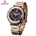 KEZZI Marca Relógios Unisex Aço Inoxidável Banhado Golded Cor De Quartzo-Relógio de Alta Qualidade Homens E Mulheres Da Moda Relógio Masculino