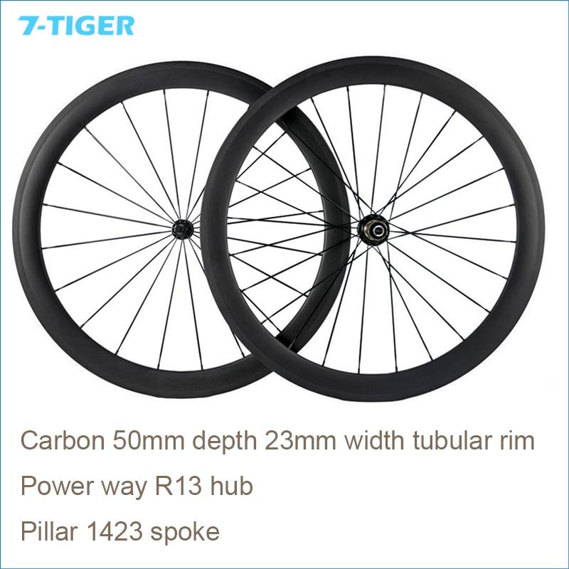 7-TIGER 50mm vélo de route carbone tubulaire prêt roues 25mm jante large Fit 700Cx23mm/25mm pneu