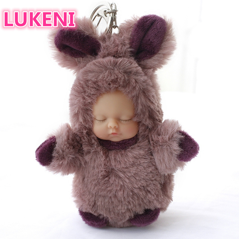 Rabbit Sleeping Baby Keychain Backpack Pendant Childrens Toys Free Shipping Convenience Goods Jewelry & Accessories Jewelry Sets & More Constructive New Long Fur Doll Doll Pendant Bear