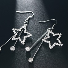 Women Tassel Earrings Silver Crystal Stars Circle Ear Stud New Pendientes Brincos Statement Earrings Fashion Jewelry Wedding
