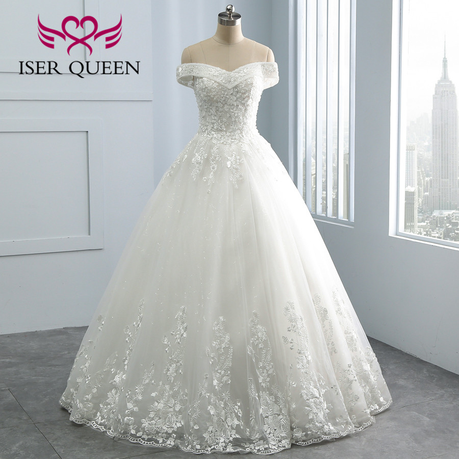 Peals Beading Lace Embroidery Wedding Dresses Ball Gown Cap Sleeve Plus Size White Vestidos De Novia 2020 Wedding Gowns WX0109
