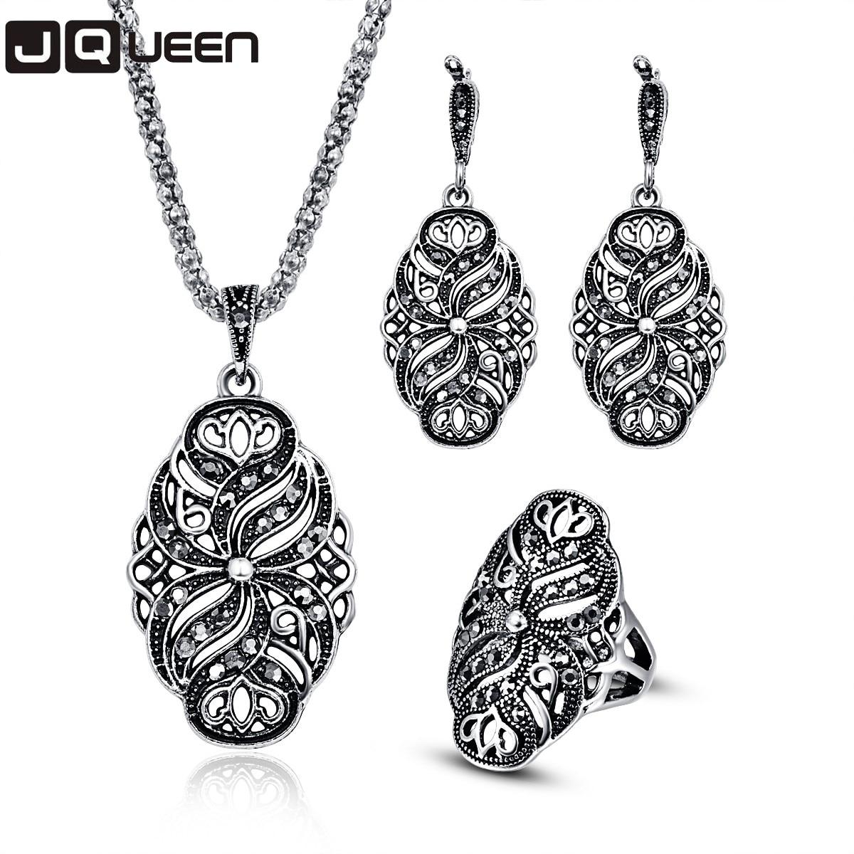 8570020a3b65 Color de plata antiguo turco Vintage conjunto de joyas de cristal negro  pendientes