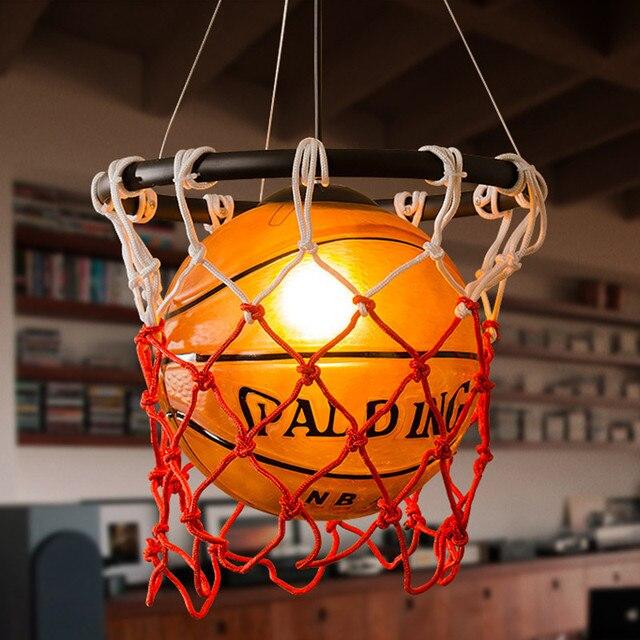 Lampe suspendue au style américain Vintage, luminaire à thème, idéal pour un Bar à thème, un ballon de basket ball ou un ballon de Football, idéal pour la chambre denfant ou la chambre à coucher dun garçon