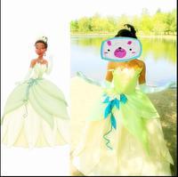 Nowy 2017 fantasia halloween kobiety wedding party dress custom made dorosłych księżniczka tiana cosplay księżniczka tiana kostium