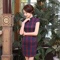 Woman Vintage Slim Traditional Chinese Dress Cheongsam QiPao Qi Pao Short Plaid Cheongsams for Women
