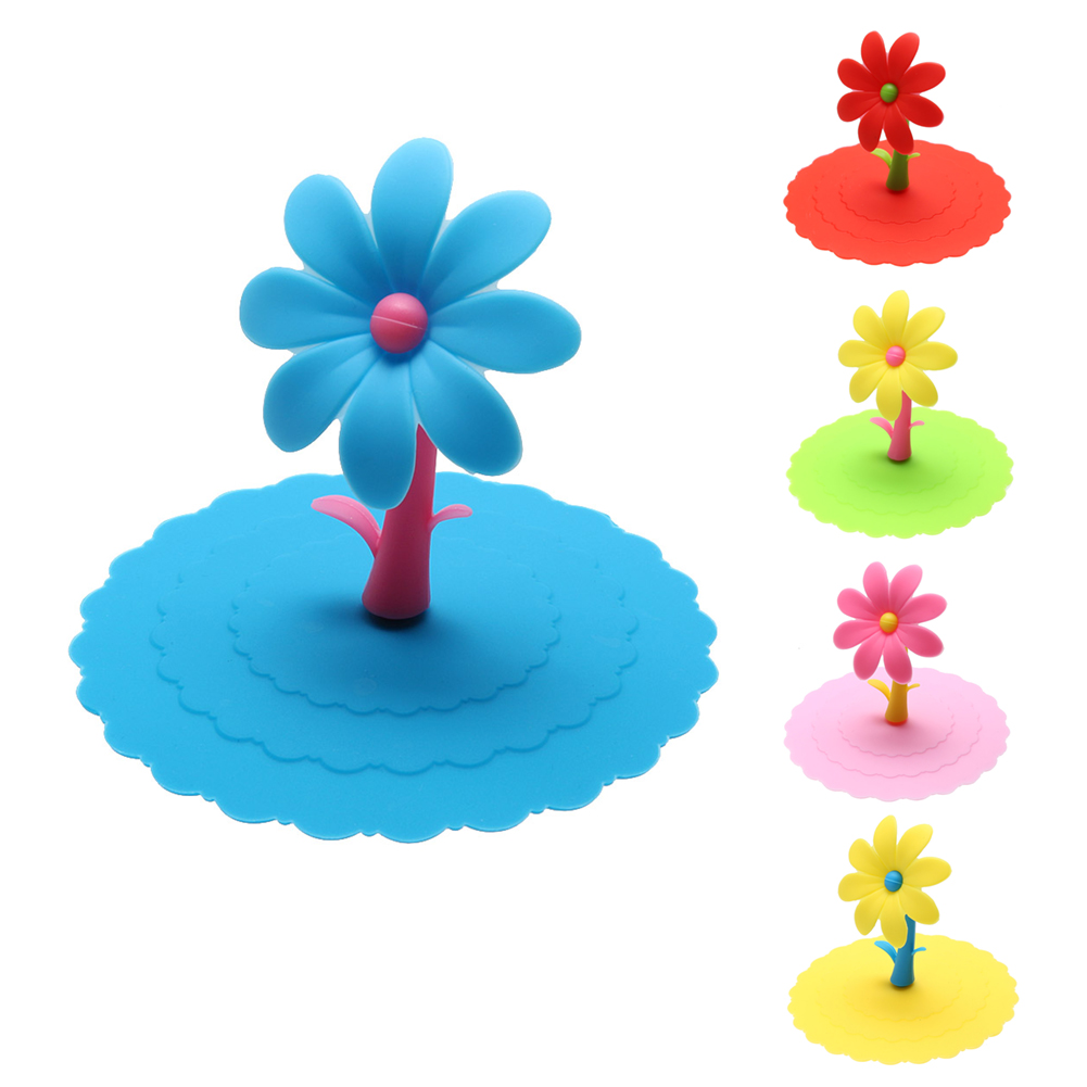 SANGEMAMA Cute Sunflower Silicone Lid Thermal Cup Cover