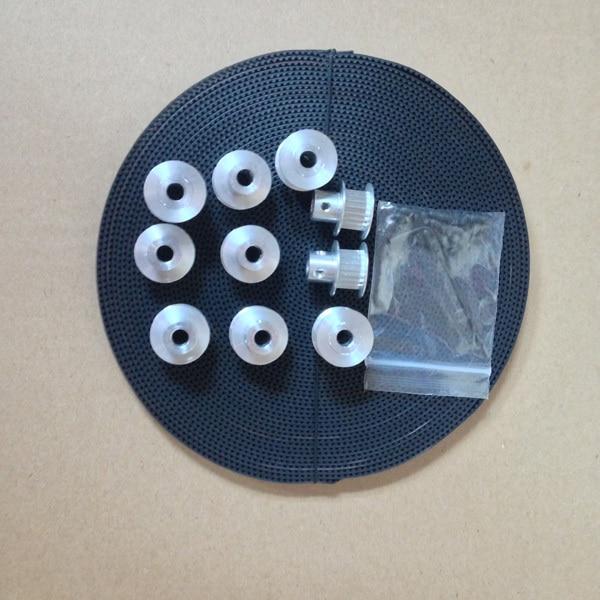 5 M cinto gt2 extremidade aberta, 5 pcs 760mm cinto gt2 em circuito fechado e 10 pcs gt2 polia 20 dentes, Pacote de 5mm e furo do parafuso de ajuste