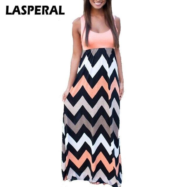 Lasperal 2017 Для женщин летний Стиль Пляжное длинное платье мода лоскутное полосатый принт сексуальная Макси Сарафан женственные платья