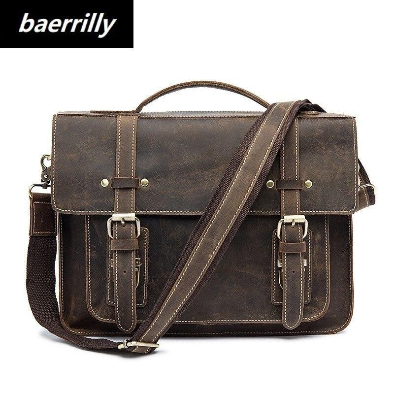 Crazy Horse business Briefcases Genuine Leather Men Bag soft handle zipper solid vintage Laptop Bag for Men mens bags Briefcase цена