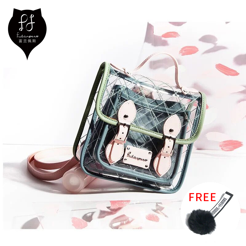 FULANPERS Transparent Women Backpack ladies Cute School bags teenage girls designer bag High Quality female small clear backpack designer bags famous brand women bags 2016 small rivets backpack tide female school bags for teenage girls mini backpack