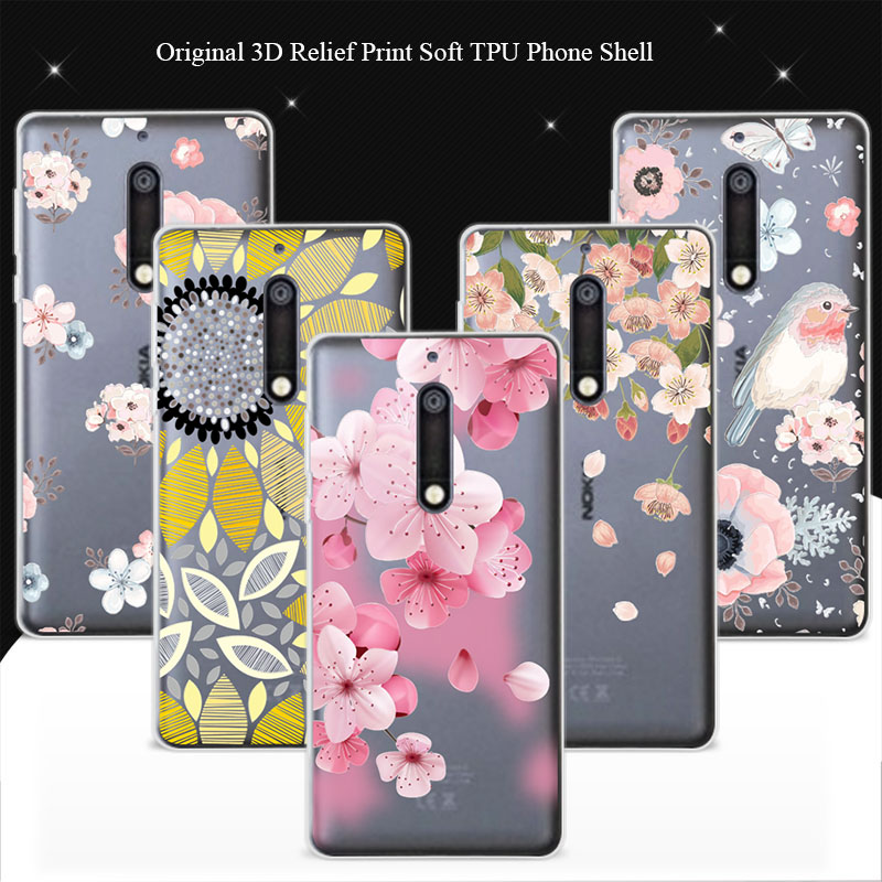74c80d95d5 For Nokia 5 Case Cover 100% Genuine 3D Relief Print TPU Soft Phone Cases  Coque For Nokia 5 Lace Capa Mobile Phone Bag 5.2''